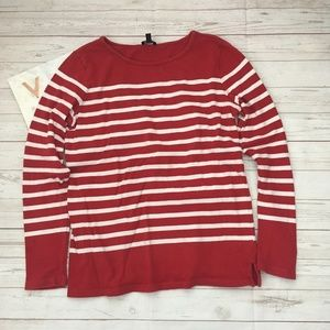 talbots xs red striped preppy top nautical